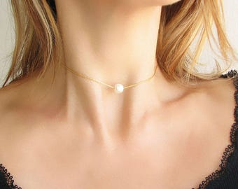 Dainty Pearl Choker Necklace Gold Choker Chain Choker Layering Necklace