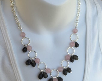 Gray gemstone dangle necklace and earring set