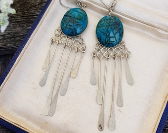 Vintage Egyptian Revival Silver Carved Turquoise Scarab Fringe Dangle Drop Earrings