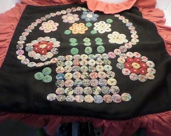 Antiquequilting mini yoyo flower basket pillowcase quilt work