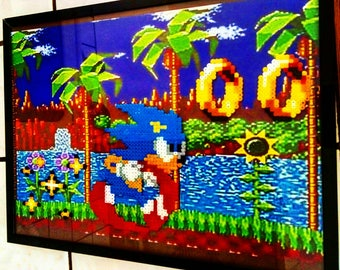 "Table ""Sonic the hedgehog"" scene pixel art"