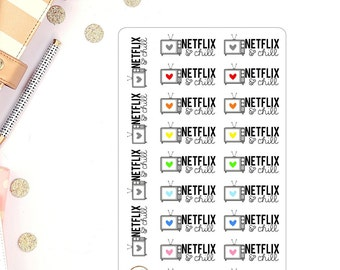 Netflix and Chill Planner Stickers TV Show Netflix Planner Stickers