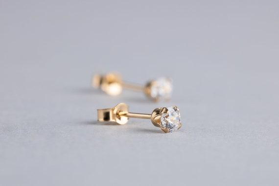 CZ Gemstone Stud Earrings in Solid 14K Yellow Gold