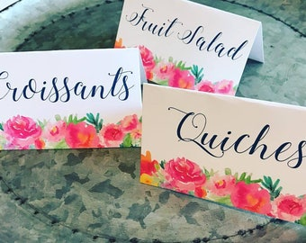 Brunch and Bubbly Bridal Shower Table Tent Signs Table Food Signs