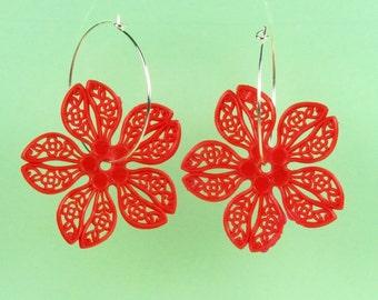 Vintage Red Lucite Flower Hoop Earrings