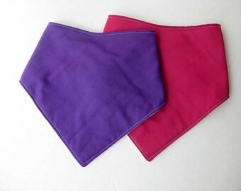 Baby Girl Bandana Bib Set- Pink Purple Bandana Bib- Organic Baby Bib- Baby Girl Bib- Baby Girl Shower Gift- Pink Drool Bib- Purple Scarf Bib