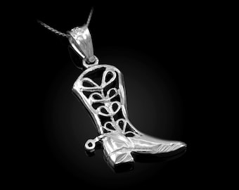 Sterling Silver FIligree Cowboy Boot Pendant Necklace