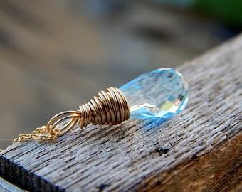 Sky blue topaz necklace, wire wrapped topaz jewelry, december birthstone jewelry