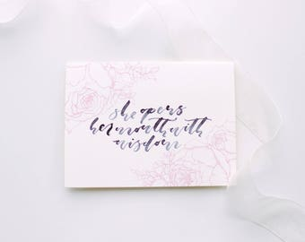 She Opens Her Mouth With Wisdom | Proverbs 31 Card | Mother's Day Card | Hand-Drawn Peonies Card | Hand-Lettered Card
