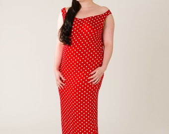 Red Polka Dot Column Dress UK16