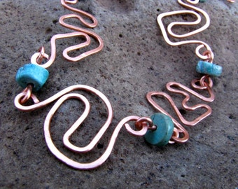 Copper Squiggles and Turquoise Heishi Bead Bracelet