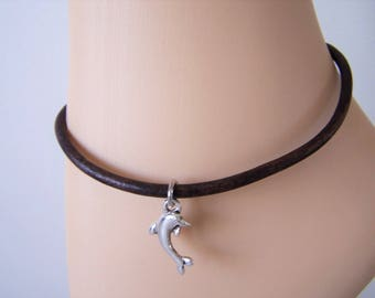 Leather Cord Ankle Bracelet with Dolphin Charm, Petite to Plus Size Anklet, Gift Idea