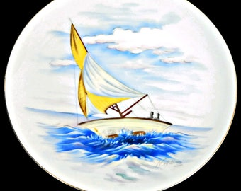 Large Plate Sailboat Made in Japan Handpainted on Water Seascape