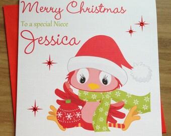 Handmade Personalised Cute Christmas Card Daughter/Niece/Sister/Granddaughter +