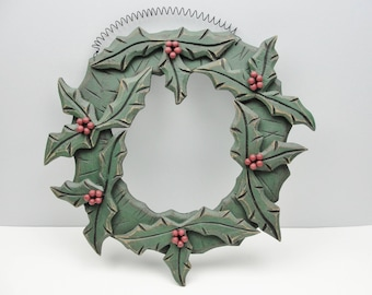 Wooden rustic holly wreath