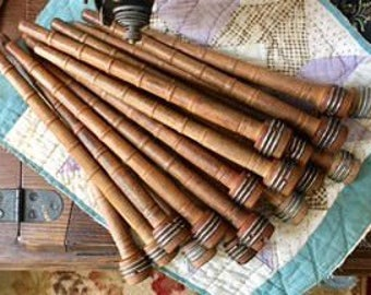 Antique Vintage Wooden Textile Threaded Spools