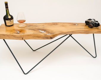 Live Edge Timber Coffee Table with Pewter Inlay