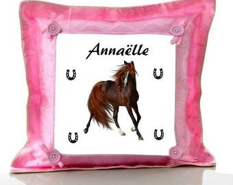 Cushion Pink horse personalized with name