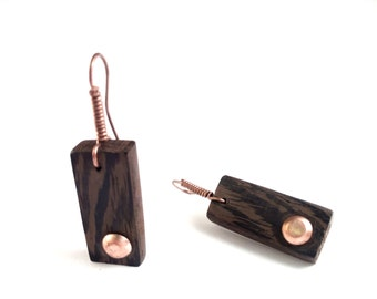 wood wengè wengè wood earrings handmade copper earrings and handcrafted copper FREE SHIPPING
