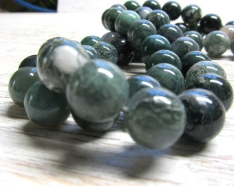 Agate Beads 12mm Natural Ivy Green Moss Agate Smooth Rounds -  16 pieces