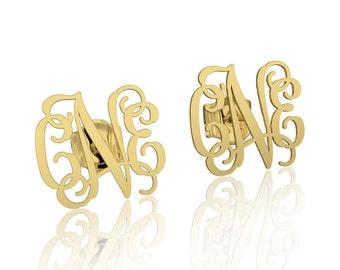 Gold stud earrings Monogram earrings 14k Personalized Name Earrings, letter earrings initial earring, nameplate earrings, custom earrings