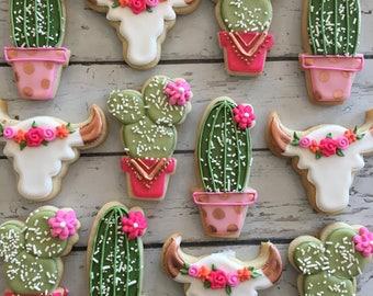 Rose gold rustic cacti and steer head cookies