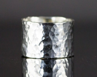 Hammered Sterling Wide Ring - Cigar Band Ring - 3/8 to 7/8 Inch Wide Ring Choice