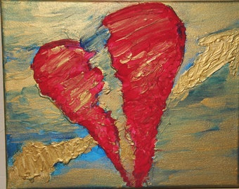 "8"" x 10"" Broken heart, 3D painting"