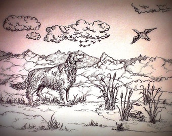 Chasse de Golden Retriever pointillisme impression ACEO canards cardpaper lourd noir et blanc