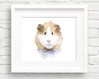 Hamster Art Print - Nursery Art - Wall Decor - Watercolor Painting