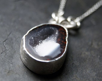 Dark Grey and Frost Geode Druzy Necklace in Sterling Silver