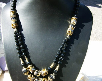 Black Statement Necklace - Vintage Faceted Beads, Gold Copper & Silver Tone, 2 Strand in Excellent Condition from JewelryArtistry - P595