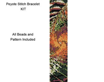 Peyote Stitch Delica Bracelet KIT - Includes Pattern and Beads - Peyote Bracelet Kit - PP15 Peyote