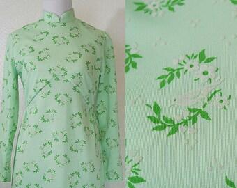 1970s Bird Mint Green Mandarin Dress S/M