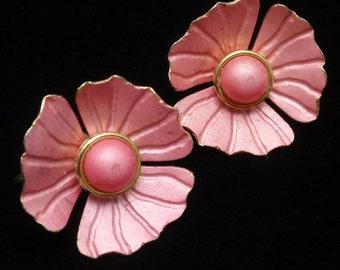Pink Flower Earrings Vintage