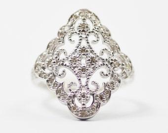 White Gold Edwardian Revival Diamond Dinner Ring