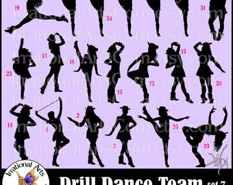 Drill Dance Team Silhouettes set 7 - with 16 EPS & SVG Vinyl Ready files and 16 PNG Digital Files and Small Commercial License