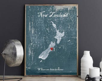 Customizable print, home is where the heart is, New Zealand art print, home decor New Zealand, wall art, typography, New Zealand map