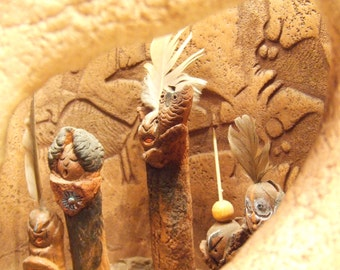 Native American Indian Art - candle holder luminary - Pueblo Indian cliff dwelling