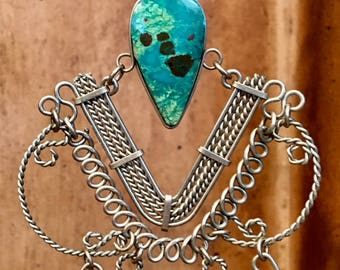 Artisan earrings #38....Ornate silver wirework with Turquoise