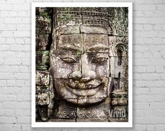 Buddha art print, budha canvas, bayon temple art, smiling face, angkor wat photo, ancient wall carving, framed budda picture, 16x20 11x14