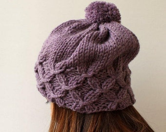 Slouchy Hats Women's Hat Pompom Hat Slouchy Beret Knitted Shimmer Lilac Knit Hat Winter Hat Silvery Lilac Chunky Hat