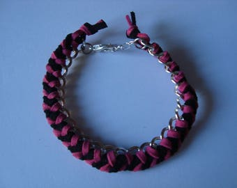 Pink and Black Suede braided bracelet