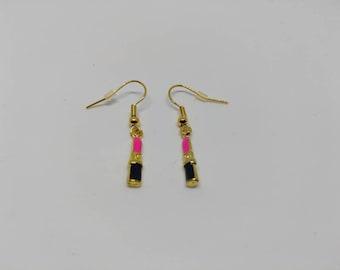 Lipstick earrings, quirky earrings, make up earrings, pink earrings, black earrings, gold earrings, unusual earrings, funky earrings