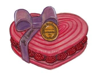 Original Aquarell Malerei Grafik - Laduree Valentine Macaron Je t ' aime