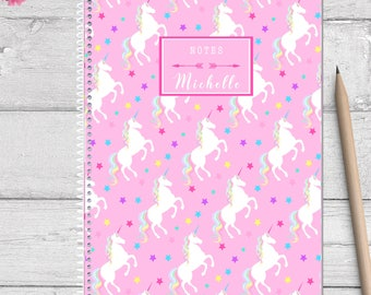 Unicorn personalized notebook for kids, spiral notebook, personalized note book, custom notebook, custom journal for kids,