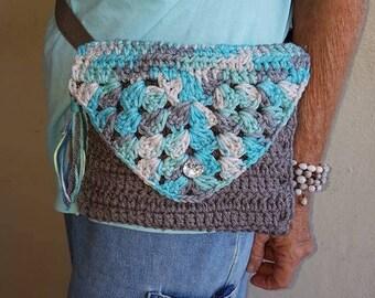 Waist Bag/Fanny pack/crochet fanny bag/Hip bag/Festival Bag/Hippy Bag/Vendor Bag/Blue Gray Hip bag (BAG1}