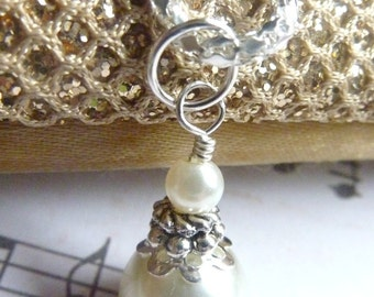 Bridesmaids necklace ivory white pearl wedding silver necklace