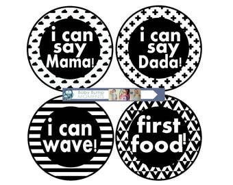 Monthly Milestone Stickers, Baby Boy Month Stickers, I Can Stickers, Baby Firsts Year Stickers, I Can Walk Crawl, Monochrome Black White