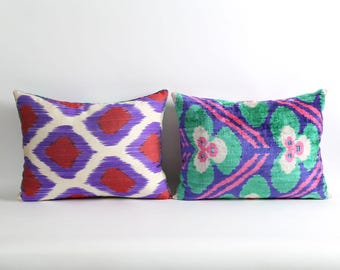 Velvet ikat pillow cover with silk ikat backing // Green, purple, pink Handwoven & hand-dyed pillows
